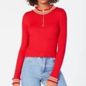 Planet Gold Mock Neck Junior Sweater